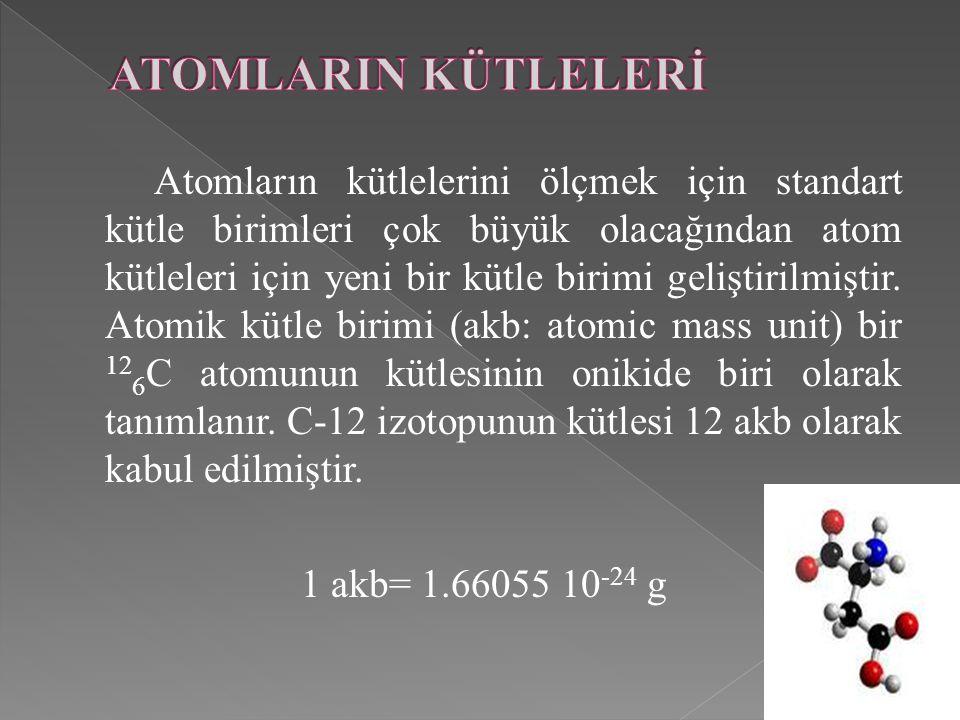 Atomların kütlelerini ölçmek için standart kütle birimleri çok büyük olacağından atom kütleleri için yeni bir kütle birimi geliştirilmiştir. Atomik kü