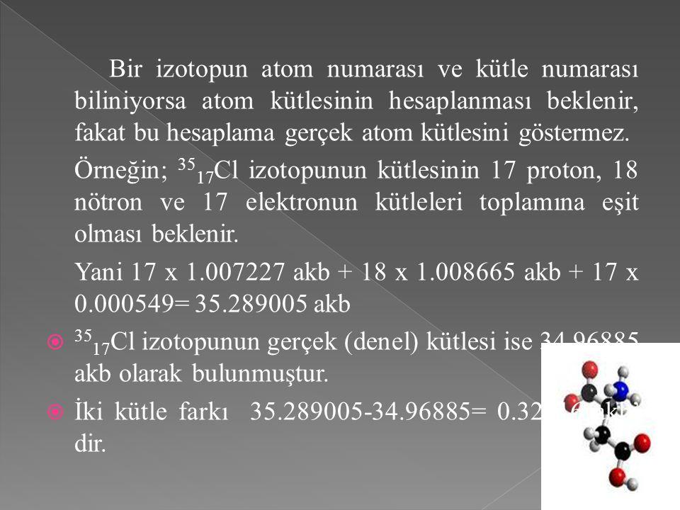 Bir izotopun atom numarası ve kütle numarası biliniyorsa atom kütlesinin hesaplanması beklenir, fakat bu hesaplama gerçek atom kütlesini göstermez. Ör