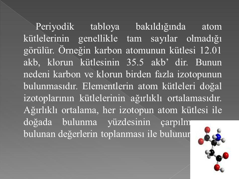 Periyodik tabloya bakıldığında atom kütlelerinin genellikle tam sayılar olmadığı görülür. Örneğin karbon atomunun kütlesi 12.01 akb, klorun kütlesinin