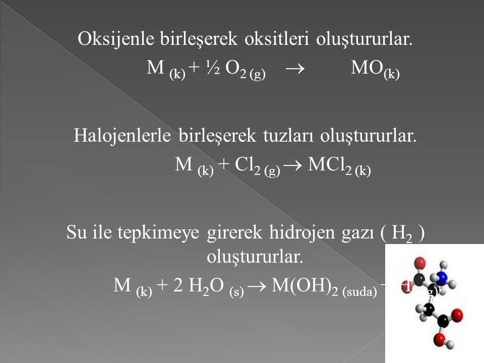Oksijenle birleşerek oksitleri oluştururlar. M (k) + ½ O 2 (g)  MO (k) Halojenlerle birleşerek tuzları oluştururlar. M (k) + Cl 2 (g)  MCl 2 (k) Su