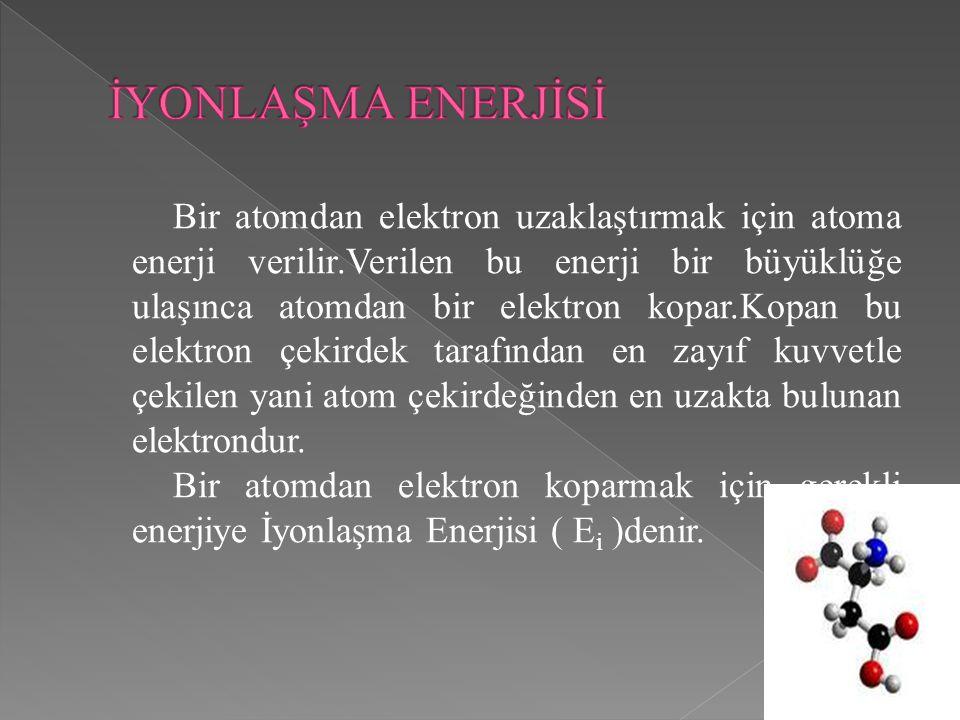 Bir atomdan elektron uzaklaştırmak için atoma enerji verilir.Verilen bu enerji bir büyüklüğe ulaşınca atomdan bir elektron kopar.Kopan bu elektron çek
