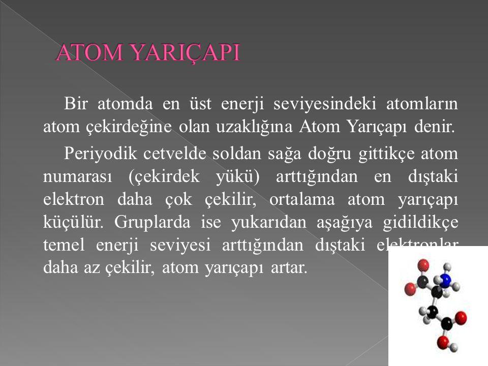 Bir atomda en üst enerji seviyesindeki atomların atom çekirdeğine olan uzaklığına Atom Yarıçapı denir.