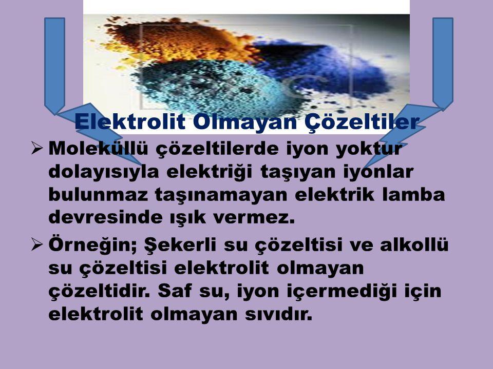 Elektrolit Olmayan Çözeltiler  Moleküllü çözeltilerde iyon yoktur dolayısıyla elektriği taşıyan iyonlar bulunmaz taşınamayan elektrik lamba devresind