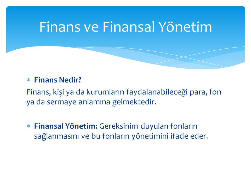  Finans Nedir? Finans, kişi ya da kurumların faydalanabileceği para, fon ya da sermaye anlamına gelmektedir.  Finansal Yönetim: Gereksinim duyulan f
