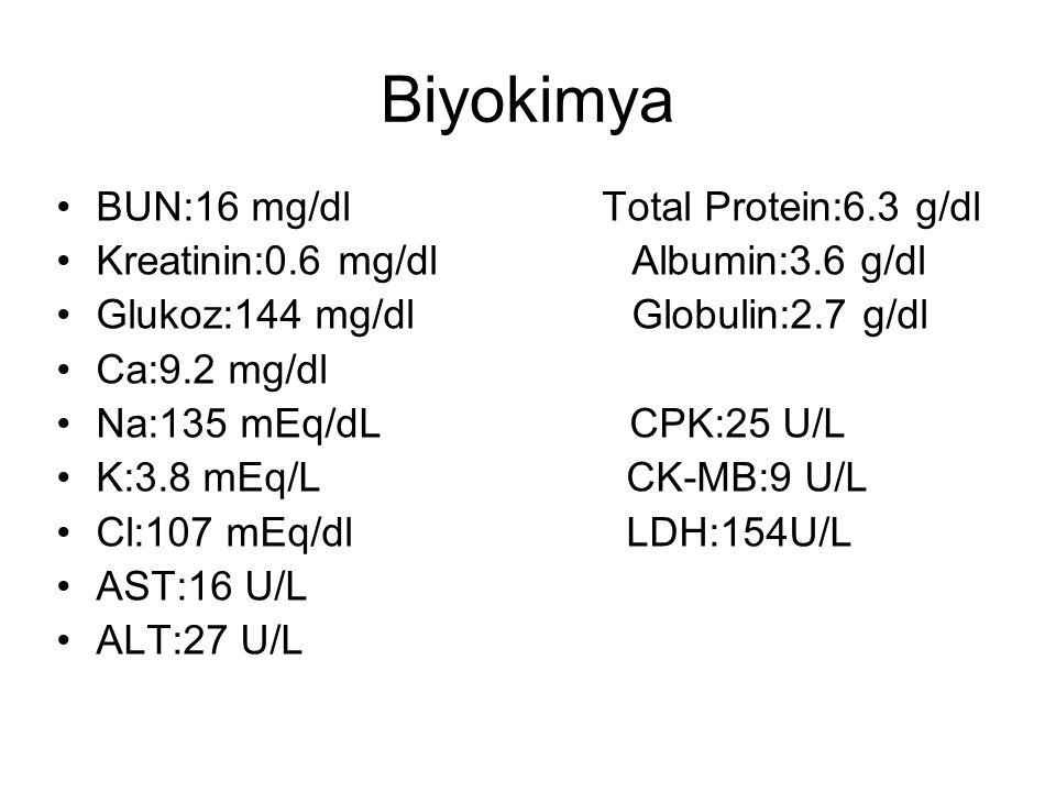 Biyokimya BUN:16 mg/dl Total Protein:6.3 g/dl Kreatinin:0.6 mg/dl Albumin:3.6 g/dl Glukoz:144 mg/dl Globulin:2.7 g/dl Ca:9.2 mg/dl Na:135 mEq/dL CPK:25 U/L K:3.8 mEq/L CK-MB:9 U/L Cl:107 mEq/dl LDH:154U/L AST:16 U/L ALT:27 U/L