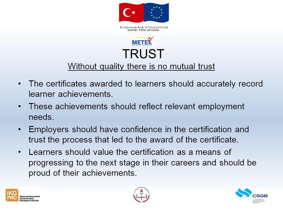 Bu proje Avrupa Birliği ve Türkiye Cumhuriyeti tarafından finanse edilmektedir. TRUST Without quality there is no mutual trust The certificates awarde