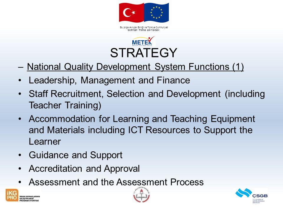 Bu proje Avrupa Birliği ve Türkiye Cumhuriyeti tarafından finanse edilmektedir. STRATEGY –National Quality Development System Functions (1) Leadership