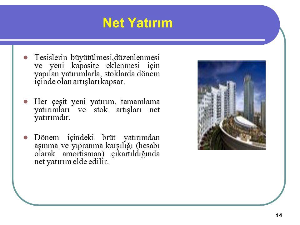 14 Net Yatırım Tesislerin büyütülmesi,düzenlenmesi ve yeni kapasite eklenmesi için yapılan yatırımlarla, stoklarda dönem içinde olan artışları kapsar.