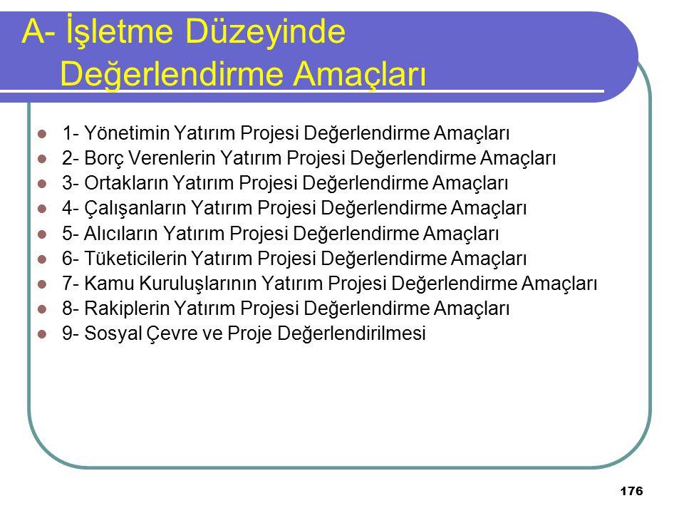 176 A- İşletme Düzeyinde Değerlendirme Amaçları 1- Yönetimin Yatırım Projesi Değerlendirme Amaçları 2- Borç Verenlerin Yatırım Projesi Değerlendirme A