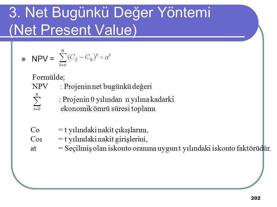 202 NPV = 3. Net Bugünkü Değer Yöntemi (Net Present Value) Formülde; NPV: Projenin net bugünkü değeri : Projenin 0 yılından n yılına kadarki ekonomik