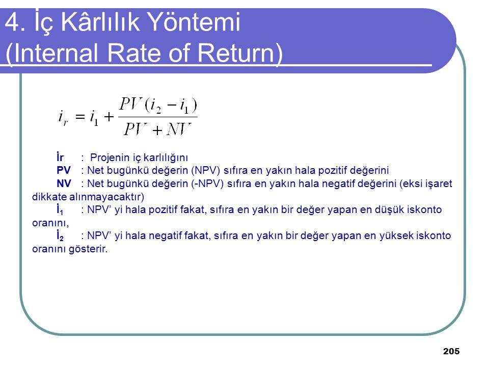 205 4. İç Kârlılık Yöntemi (Internal Rate of Return) İr: Projenin iç karlılığını PV: Net bugünkü değerin (NPV) sıfıra en yakın hala pozitif değerini N