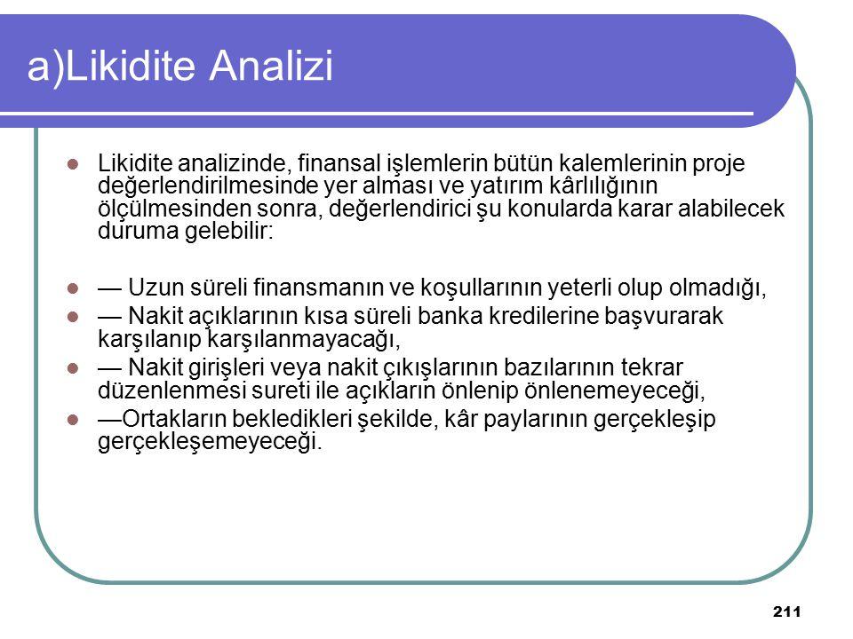 211 a)Likidite Analizi Likidite analizinde, finansal işlemlerin bütün kalemlerinin proje değerlendirilmesinde yer alması ve yatırım kârlılığının ölçül