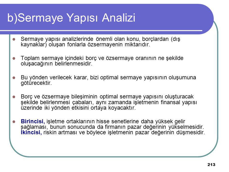 213 b)Sermaye Yapısı Analizi Sermaye yapısı analizlerinde önemli olan konu, borçlardan (dış kaynaklar) oluşan fonlarla özsermayenin miktarıdır. Toplam