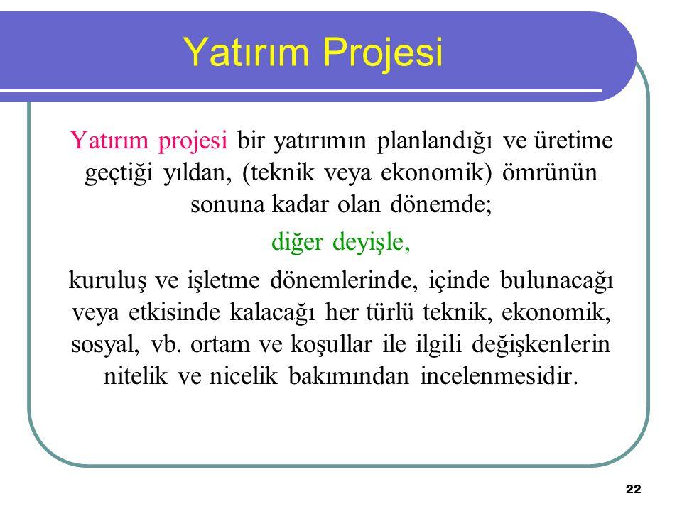 22 Yatırım Projesi Yatırım projesi bir yatırımın planlandığı ve üretime geçtiği yıldan, (teknik veya ekonomik) ömrünün sonuna kadar olan dönemde; diğe