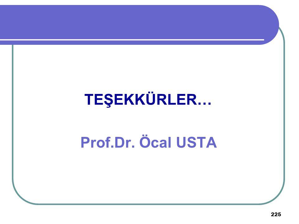 225 TEŞEKKÜRLER… Prof.Dr. Öcal USTA
