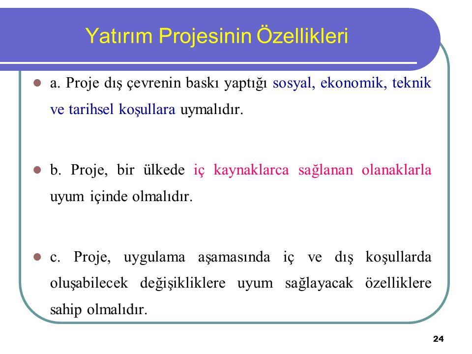 24 Yatırım Projesinin Özellikleri a. Proje dış çevrenin baskı yaptığı sosyal, ekonomik, teknik ve tarihsel koşullara uymalıdır. b. Proje, bir ülkede i