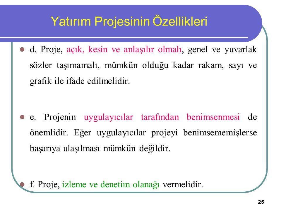 25 Yatırım Projesinin Özellikleri d. Proje, açık, kesin ve anlaşılır olmalı, genel ve yuvarlak sözler taşımamalı, mümkün olduğu kadar rakam, sayı ve g