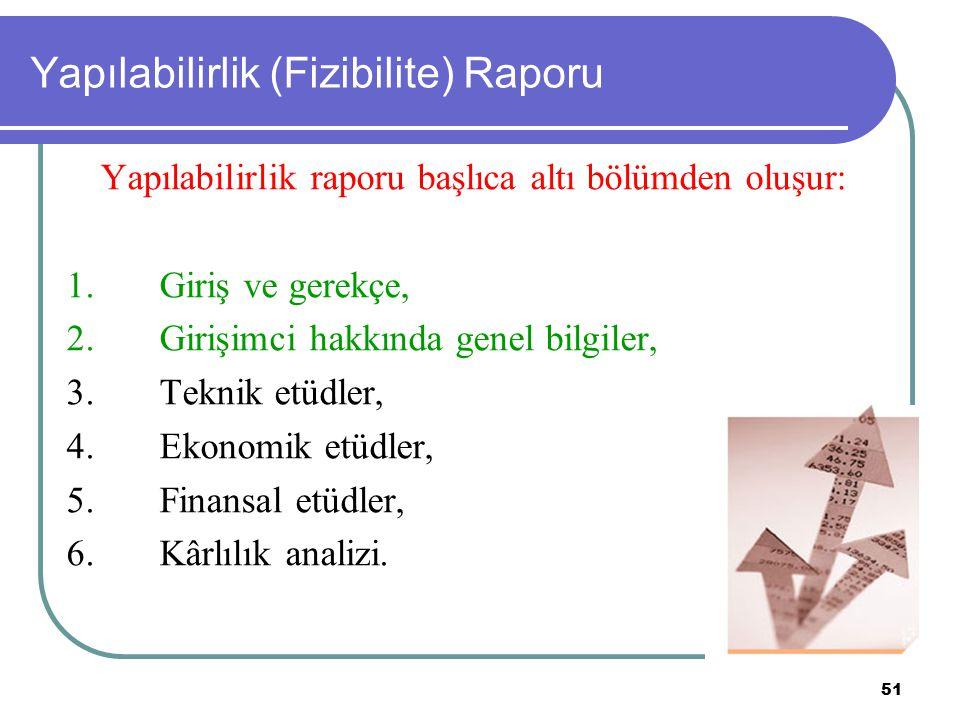 51 Yapılabilirlik (Fizibilite) Raporu Yapılabilirlik raporu başlıca altı bölümden oluşur: 1. Giriş ve gerekçe, 2. Girişimci hakkında genel bilgiler, 3