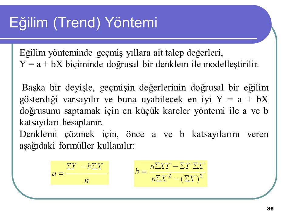 86 Eğilim (Trend) Yöntemi Eğilim yönteminde geçmiş yıllara ait talep değerleri, Y = a + bX biçiminde doğrusal bir denklem ile modelleştirilir. Başka b