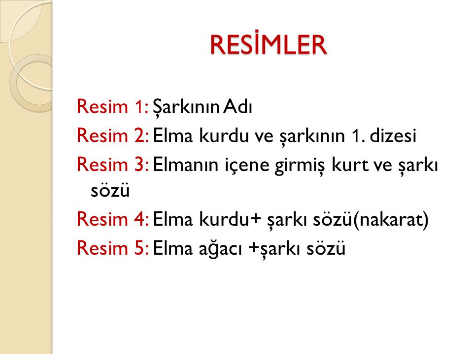RES İ MLER Resim 1 : Şarkının Adı Resim 2: Elma kurdu ve şarkının 1.