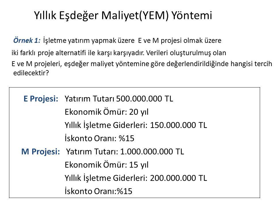 Yıllık Eşdeğer Maliyet(YEM) Yöntemi Örnek 1: İşletme yatırım yapmak üzere E ve M projesi olmak üzere iki farklı proje alternatifi ile karşı karşıyadır.