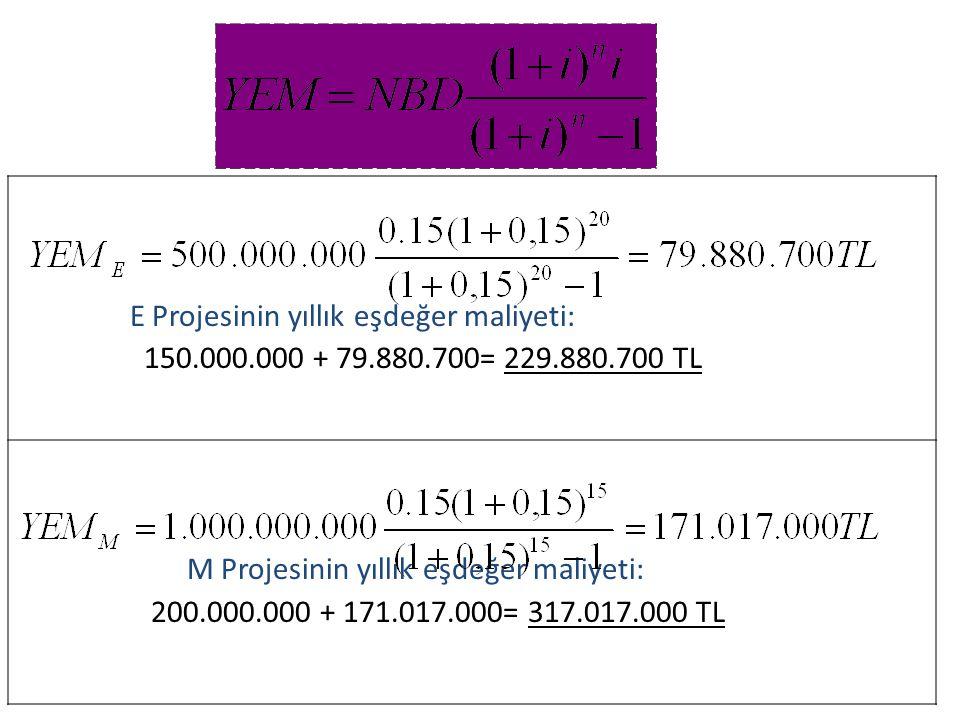 E Projesinin yıllık eşdeğer maliyeti: 150.000.000 + 79.880.700= 229.880.700 TL M Projesinin yıllık eşdeğer maliyeti: 200.000.000 + 171.017.000= 317.01