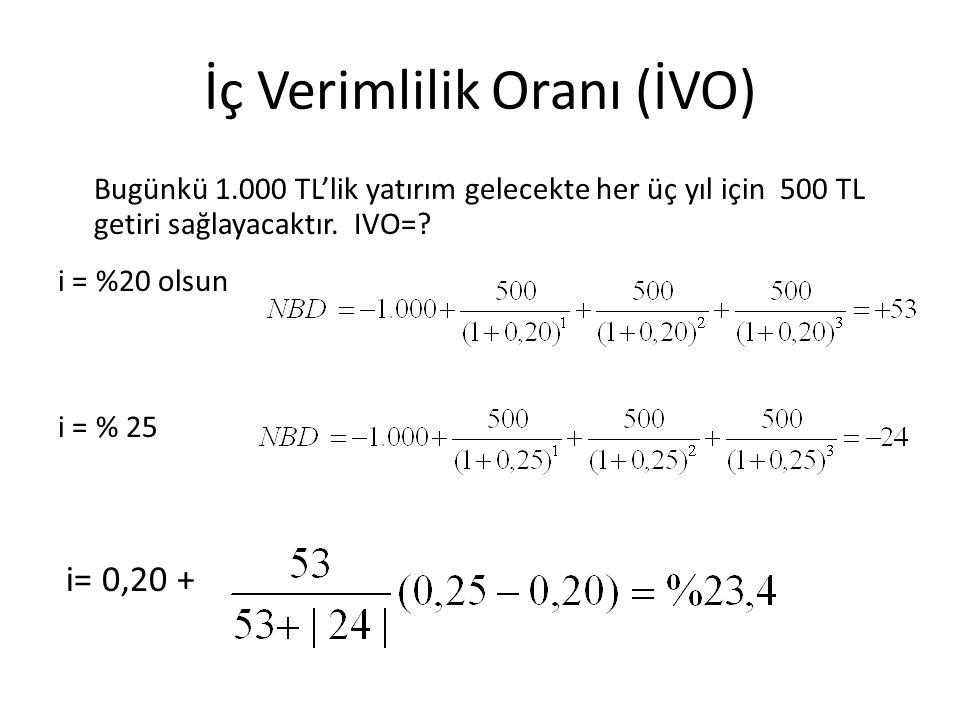 İç Verimlilik Oranı (İVO) Bugünkü 1.000 TL'lik yatırım gelecekte her üç yıl için 500 TL getiri sağlayacaktır. IVO=? i = %20 olsun i = % 25 i= 0,20 +
