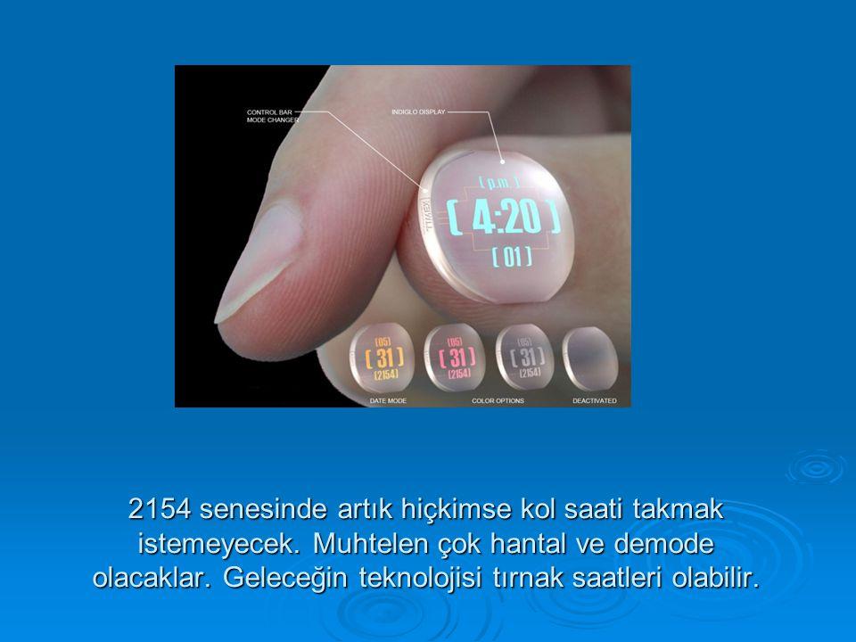 2154 senesinde artık hiçkimse kol saati takmak istemeyecek. Muhtelen çok hantal ve demode olacaklar. Geleceğin teknolojisi tırnak saatleri olabilir.