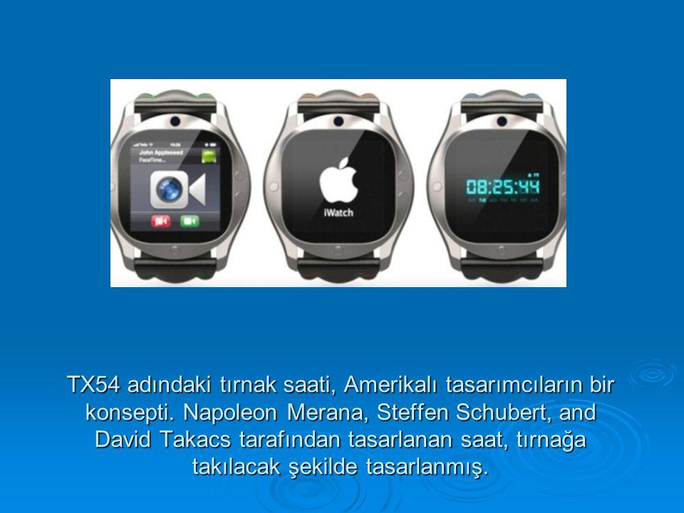 TX54 adındaki tırnak saati, Amerikalı tasarımcıların bir konsepti. Napoleon Merana, Steffen Schubert, and David Takacs tarafından tasarlanan saat, tır