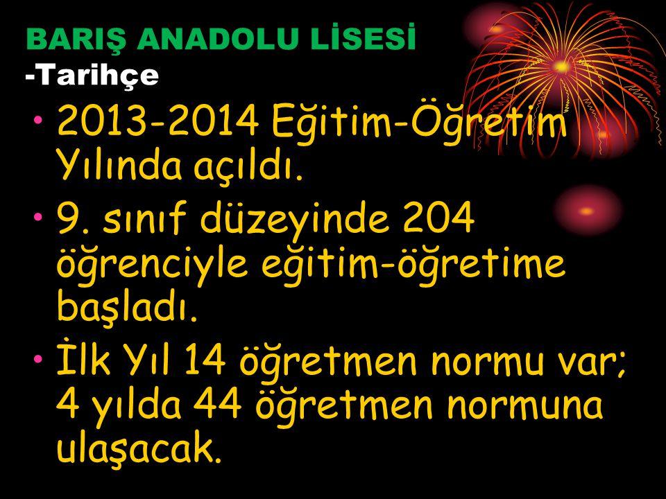 BARIŞ ANADOLU LİSESİ -Tarihçe 2013-2014 Eğitim-Öğretim Yılında açıldı.