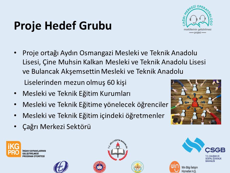 Proje Hedef Grubu Proje ortağı Aydın Osmangazi Mesleki ve Teknik Anadolu Lisesi, Çine Muhsin Kalkan Mesleki ve Teknik Anadolu Lisesi ve Bulancak Akşem