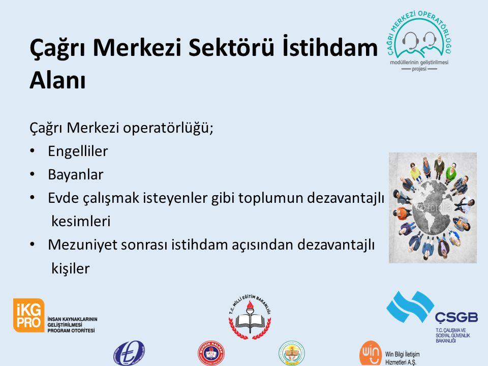 Çağrı Merkezi Sektörü İstihdam Alanı Çağrı Merkezi operatörlüğü; Engelliler Bayanlar Evde çalışmak isteyenler gibi toplumun dezavantajlı kesimleri Mez