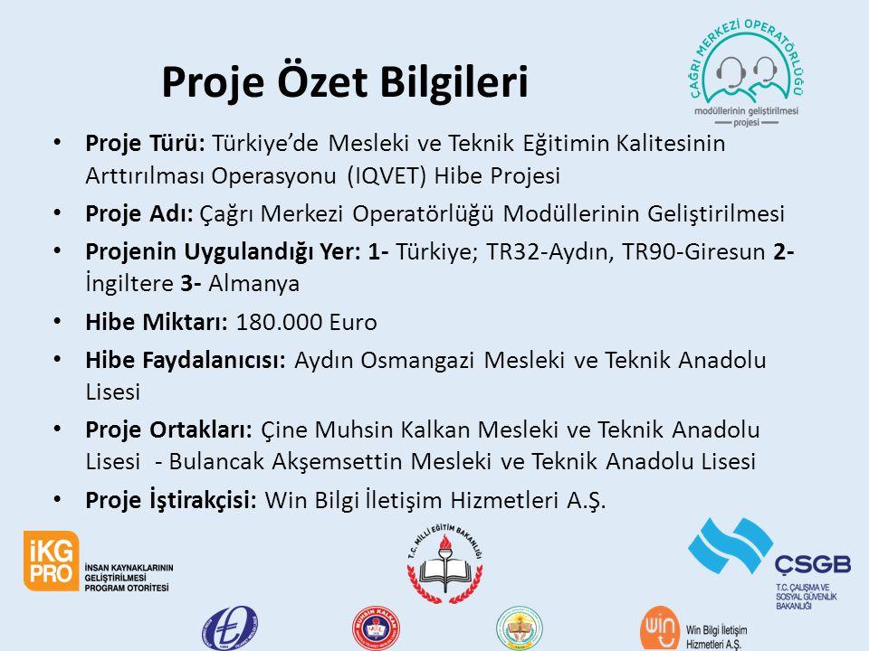 Proje Özet Bilgileri Proje Türü: Türkiye'de Mesleki ve Teknik Eğitimin Kalitesinin Arttırılması Operasyonu (IQVET) Hibe Projesi Proje Adı: Çağrı Merke