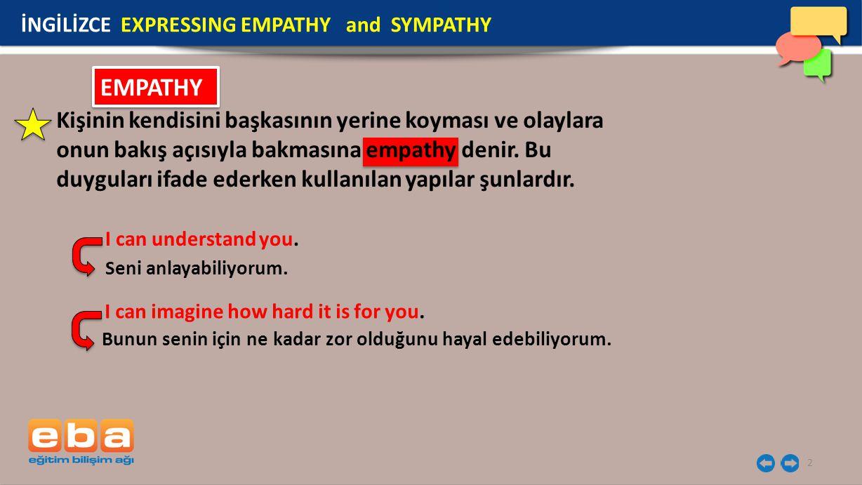 2 Kişinin kendisini başkasının yerine koyması ve olaylara onun bakış açısıyla bakmasına empathy denir. Bu duyguları ifade ederken kullanılan yapılar ş