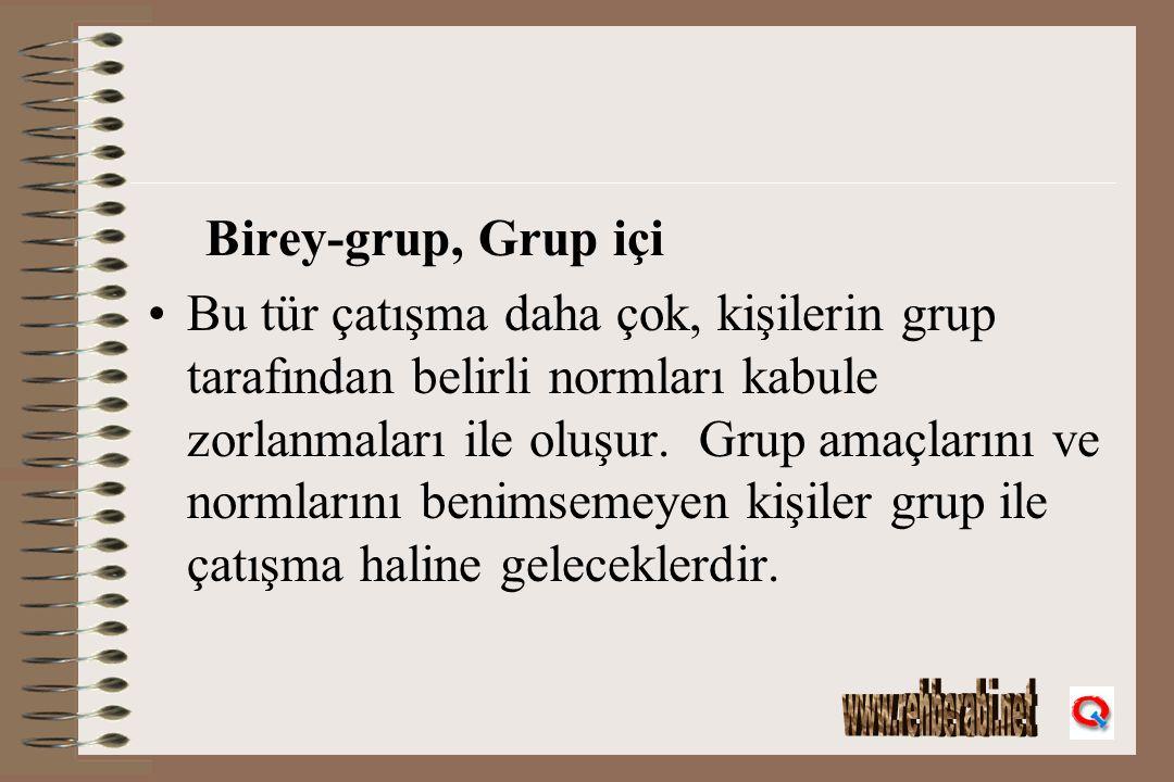 Birey-grup, Grup içi Bu tür çatışma daha çok, kişilerin grup tarafından belirli normları kabule zorlanmaları ile oluşur. Grup amaçlarını ve normlarını