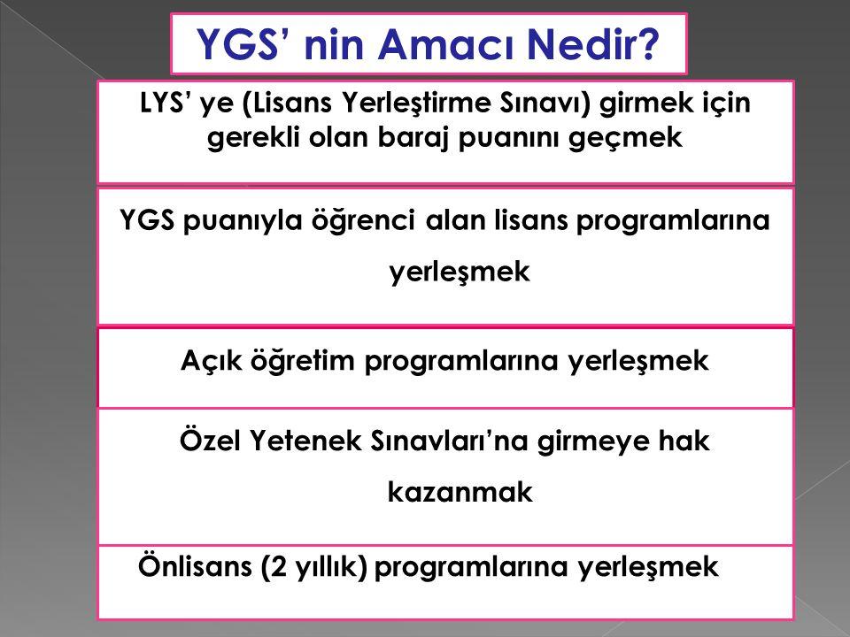 YGS' nin Amacı Nedir? LYS' ye (Lisans Yerleştirme Sınavı) girmek için gerekli olan baraj puanını geçmek YGS puanıyla öğrenci alan lisans programlarına