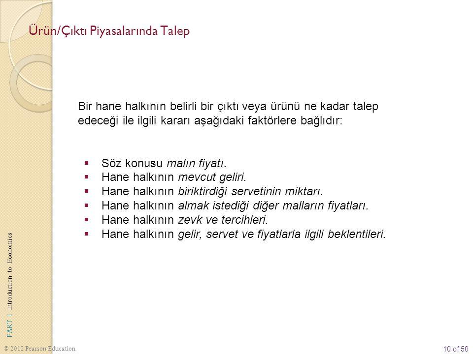 10 of 50 PART I Introduction to Economics © 2012 Pearson Education Bir hane halkının belirli bir çıktı veya ürünü ne kadar talep edeceği ile ilgili kararı aşağıdaki faktörlere bağlıdır:  Söz konusu malın fiyatı.