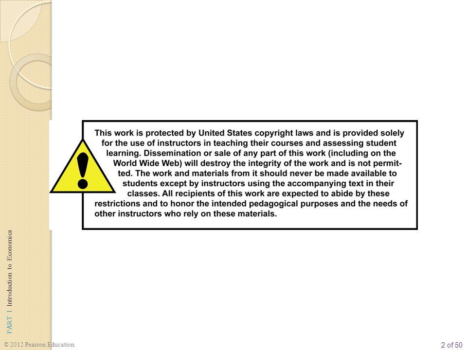 33 of 50 PART I Introduction to Economics © 2012 Pearson Education Ürün/Çıktı Piyasalarında Arz Arzın Di ğ er Belirleyicileri  Üretim Maliyeti Bir firmanın kâr elde edebilmesi için gelirinin maliyetlerini aşması gerekir.