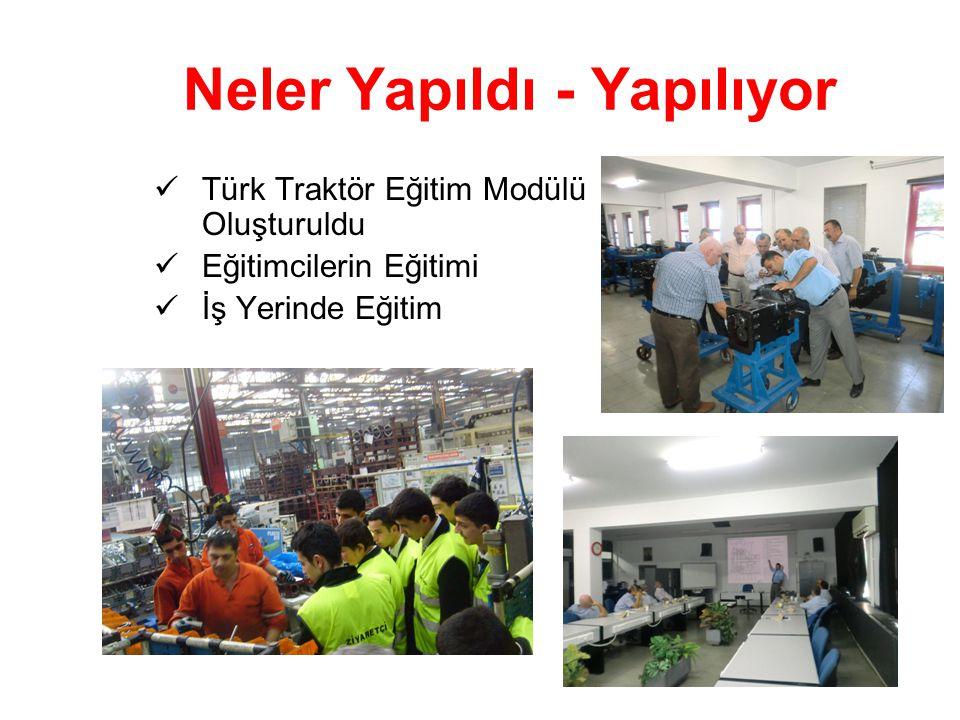 Neler Yapıldı - Yapılıyor Türk Traktör Eğitim Modülü Oluşturuldu Eğitimcilerin Eğitimi İş Yerinde Eğitim