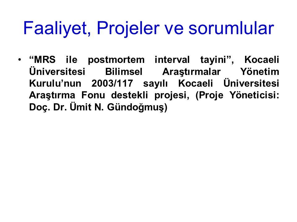 """Faaliyet, Projeler ve sorumlular """"MRS ile postmortem interval tayini"""", Kocaeli Üniversitesi Bilimsel Araştırmalar Yönetim Kurulu'nun 2003/117 sayılı K"""
