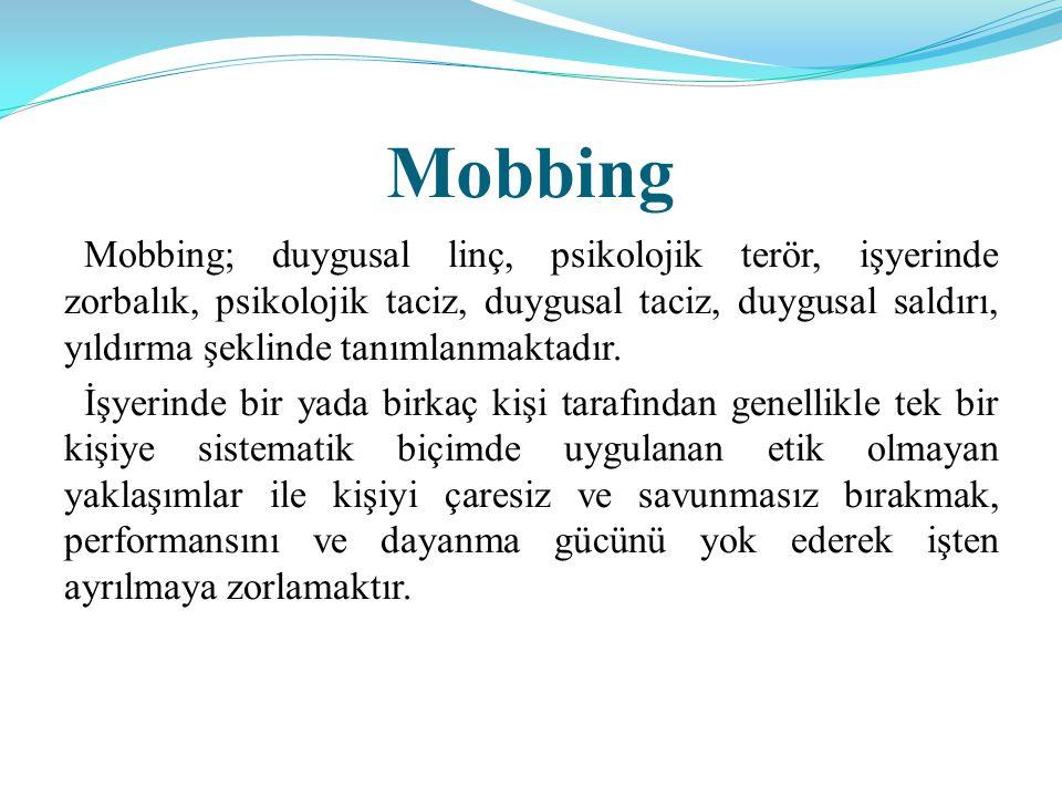 Mobbing Mobbing; duygusal linç, psikolojik terör, işyerinde zorbalık, psikolojik taciz, duygusal taciz, duygusal saldırı, yıldırma şeklinde tanımlanmaktadır.