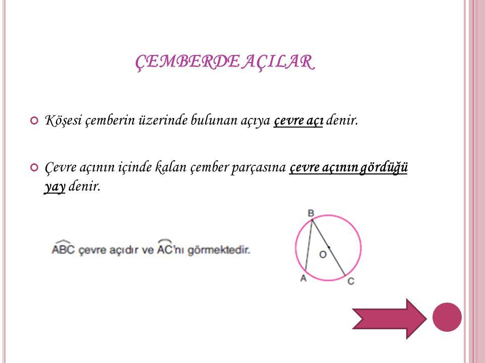 ÇEMBERDE AÇILAR Köşesi çemberin üzerinde bulunan açıya çevre açı denir. Çevre açının içinde kalan çember parçasına çevre açının gördüğü yay denir.