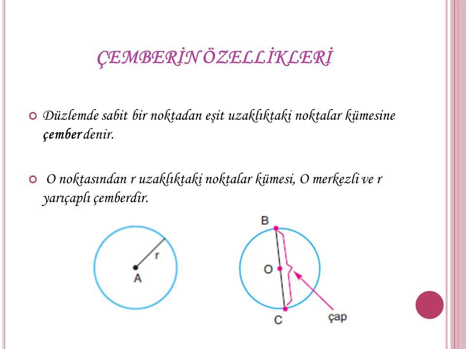 ÇEMBERİN ÖZELLİKLERİ Düzlemde sabit bir noktadan eşit uzaklıktaki noktalar kümesine çember denir. O noktasından r uzaklıktaki noktalar kümesi, O merke