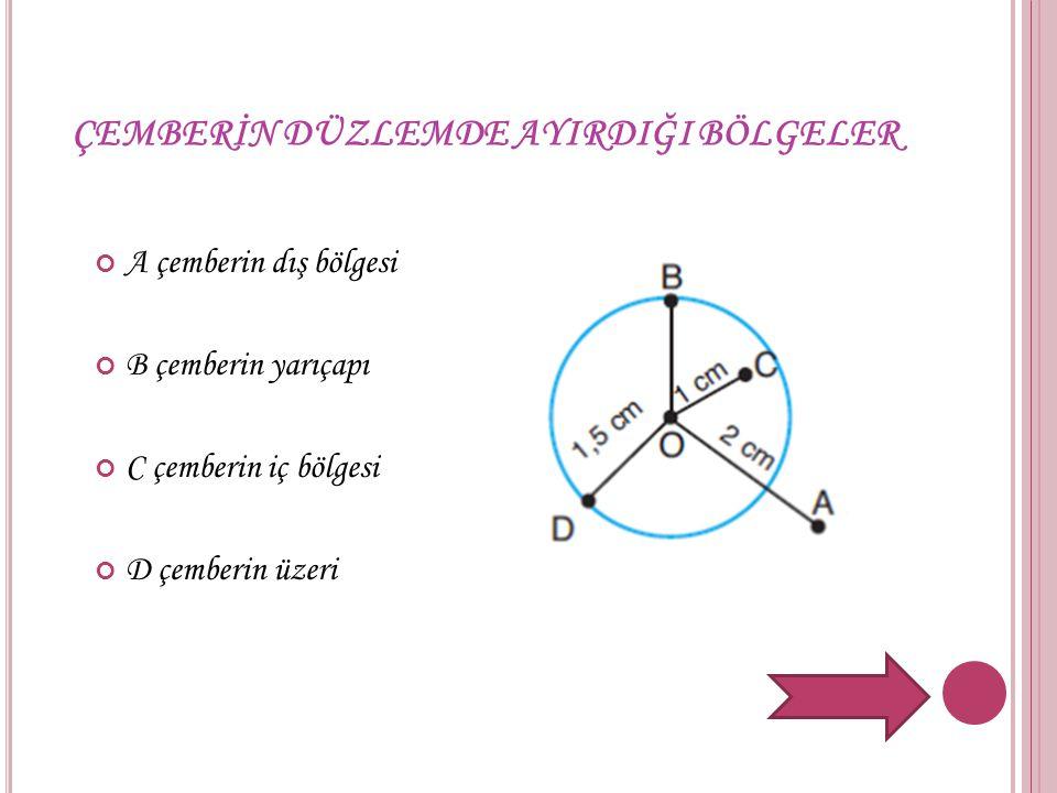 ÇEMBERİN DÜZLEMDE AYIRDIĞI BÖLGELER A çemberin dış bölgesi B çemberin yarıçapı C çemberin iç bölgesi D çemberin üzeri