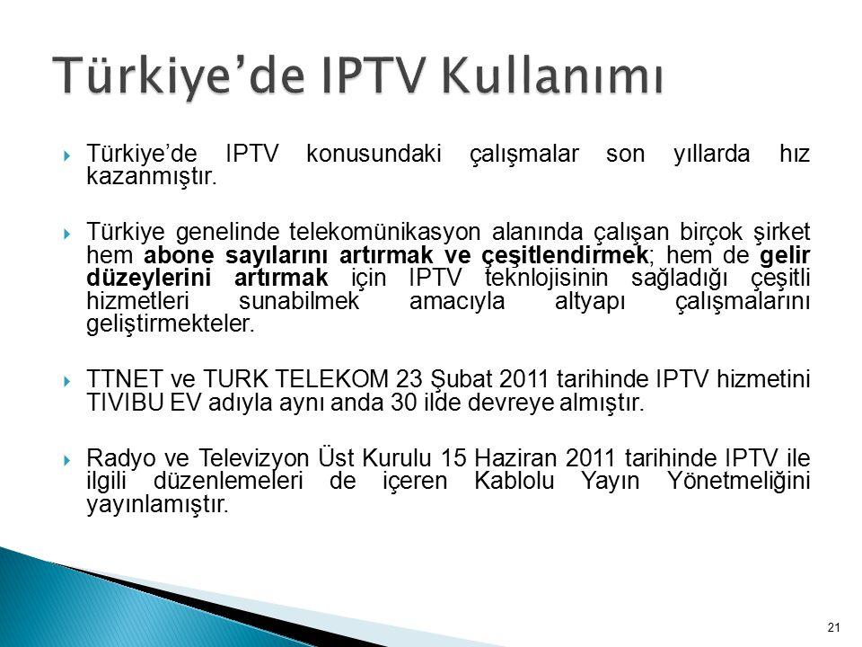  Türkiye'de IPTV konusundaki çalışmalar son yıllarda hız kazanmıştır.