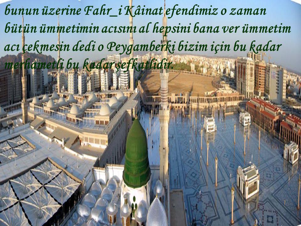 bunun üzerine Fahr_i Kâinat efendimiz o zaman bütün ümmetimin acısını al hepsini bana ver ümmetim acı çekmesin dedi o Peygamberki bizim için bu kadar merhametli bu kadar şefkatlidir.