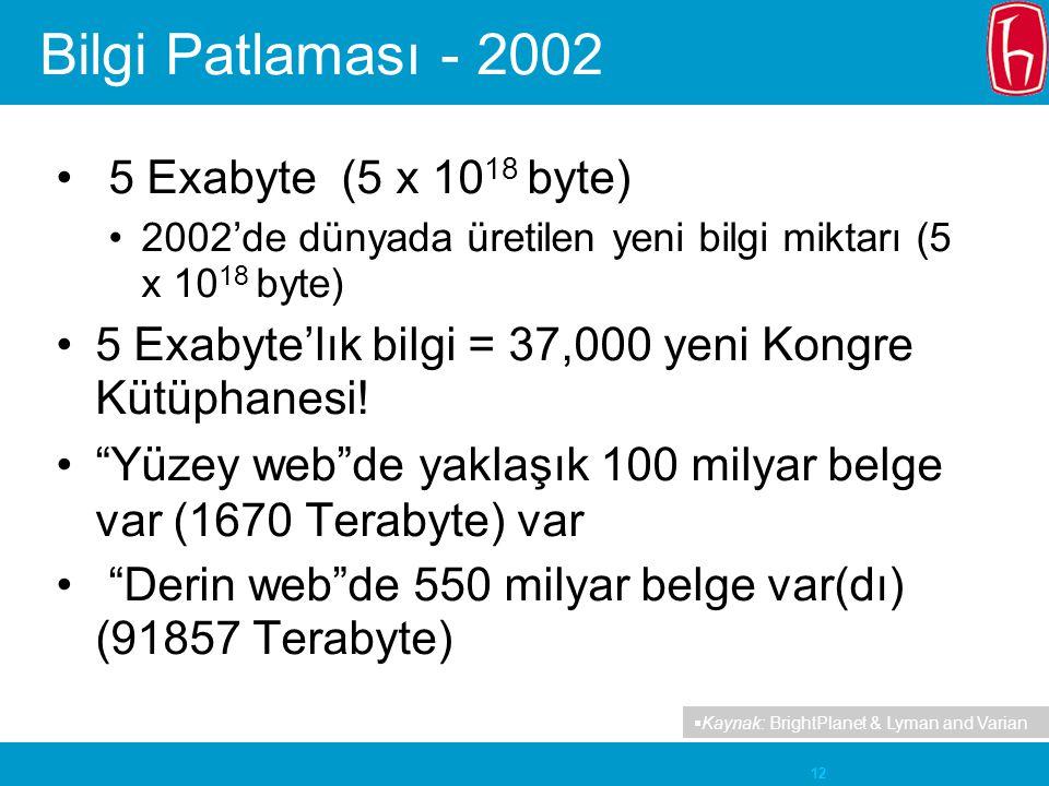 12 Bilgi Patlaması - 2002 5 Exabyte (5 x 10 18 byte) 2002'de dünyada üretilen yeni bilgi miktarı (5 x 10 18 byte) 5 Exabyte'lık bilgi = 37,000 yeni Ko