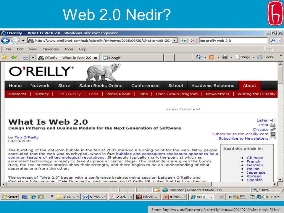 18 Web 2.0 Nedir? Source: http://www.oreillynet.com/pub/a/oreilly/tim/news/2005/09/30/what-is-web-20.html
