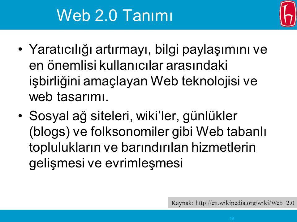 19 Web 2.0 Tanımı Yaratıcılığı artırmayı, bilgi paylaşımını ve en önemlisi kullanıcılar arasındaki işbirliğini amaçlayan Web teknolojisi ve web tasarı