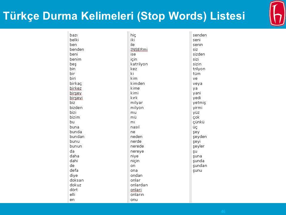 46 Türkçe Durma Kelimeleri (Stop Words) Listesi